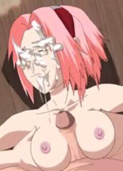 Naruto gozando na cara de Sakura